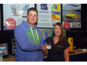 Arlene Hardacre and Ben Stoten agreeing deal at Skipper Expo Bournemouth